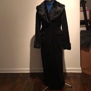 Light corduroy coat with rabbit trim from Arden B